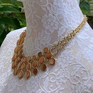 Jewelry - Orange Mother of Pearl Gold Tone Necklace